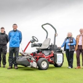 From left: Reesink's David Raitt, greenkeeper Owen Cormack, course manager Dougie Thorburn, club captain Catherine McLeod and David Shearer and Linda Bremner from Caithness and North Sunderland Fund and Beatrice Caithness Windfarm Fund.